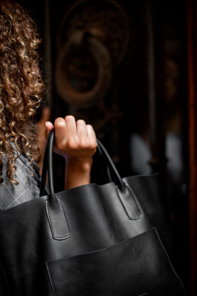 buenos aires bolsa de piel hecho a mano color negro