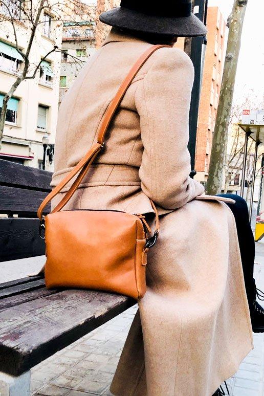 bandolera camel cuero leatherbags
